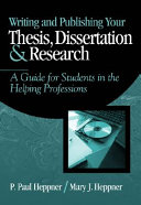 Writing and Publishing Your Thesis, Dissertation, and Research