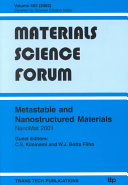Metastable And Nanostructured Materials Book PDF