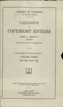 Catalog of Copyright Entries. New Series