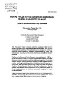 Fiscal Rules in the European Monetary Union