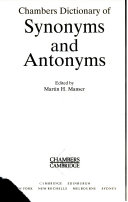 Chambers Dictionary of Synonyms and Antonyms Book PDF