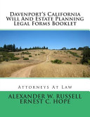 Davenport S California Will And Estate Planning Legal Forms Booklet