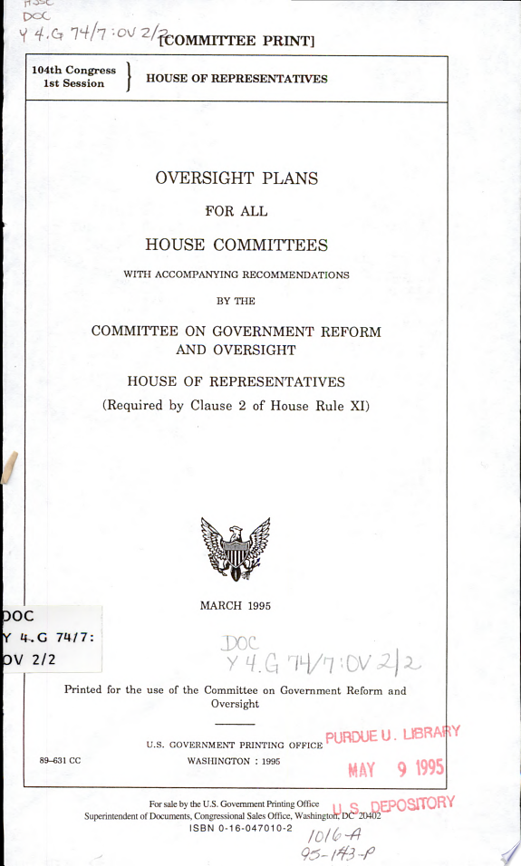 Oversight Plans for All House Commi