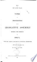 Votes and Proceedings of the Legislative Assembly Book PDF