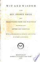 Wit and Wisdom of the Rev  Sydney Smith