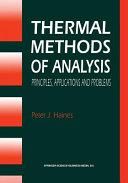 Thermal Methods of Analysis Book