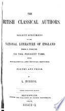 The British Classical Authors  Select Specimens of the National Literature of England from G  Chaucer to the Present Time  10  Ed Book