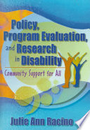 Policy  Program Evaluation  and Research in Disability Book