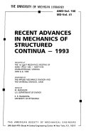 Recent Advances In Mechanics Of Structured Continua 1993 Book PDF