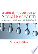 A Critical Introduction to Social Research Book
