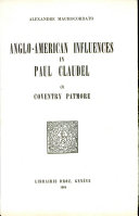 Anglo-American Influences in Paul Claudel: Coventry Patmore