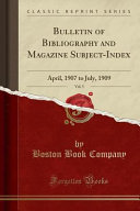 Bulletin Of Bibliography And Magazine Subject Index Vol 5