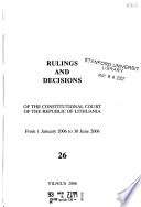 Rulings and Decisions of the Constitutional Court of the Republic of Lithuania