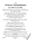 An Indian Ephemeris, A.D. 1800 to A.D. 2000