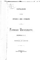 Catalogue of the Officers and Students of Furman University