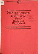 Nutrition Abstracts and Reviews