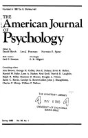 The American Journal of Psychology Book