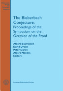 The Bieberbach Conjecture: Proceedings of the Symposium on the ...