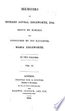 Memoirs of R  L  E      begun by himself  and concluded by his daughter  M  Edgeworth