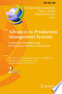 Advances in Production Management Systems  Competitive Manufacturing for Innovative Products and Services