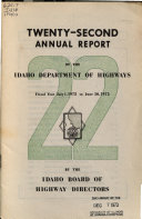 Annual Report Of The Department Of Highways