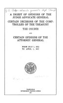 Digest of Opinions of the Judge Advocate General of the Army