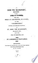 An Ode To Masonry Recited In The Lodge Of Friendship By A Member Of That Lodge