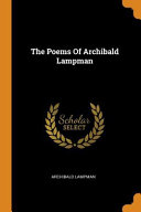 Archibald Lampman Books, Archibald Lampman poetry book