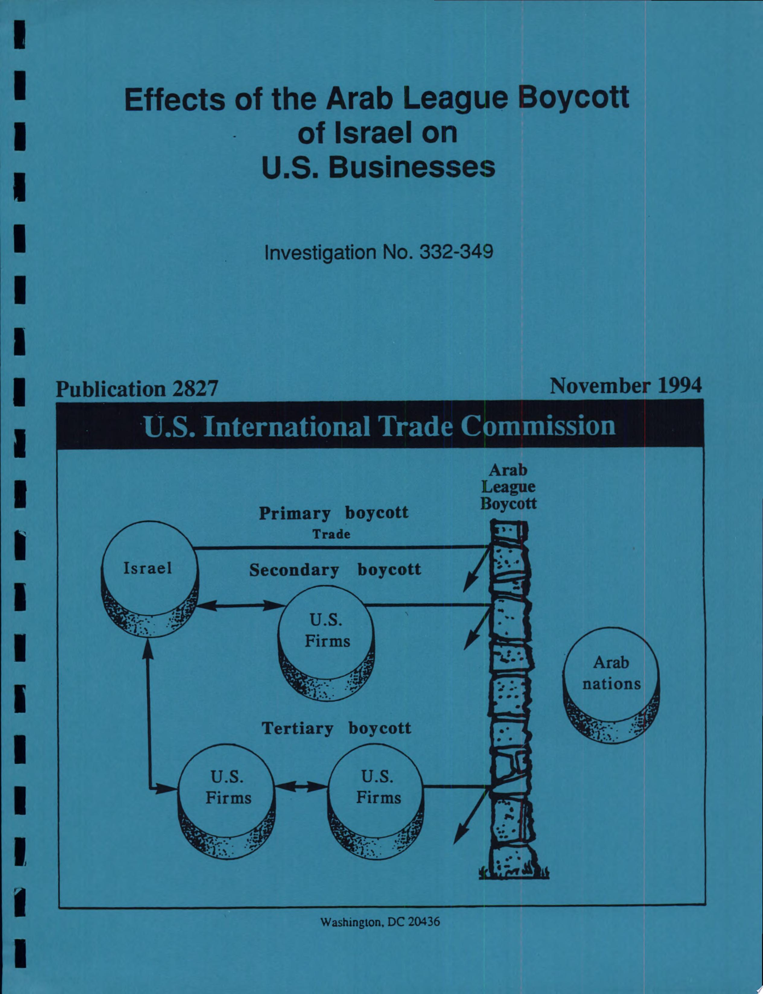 Effects of the Arab League Boycott of Israel on U  S  Businesses