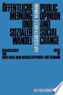 Öffentliche Meinung und sozialer Wandel / Public Opinion and Social Change