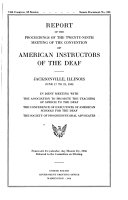 Report of the Proceedings of the     Meeting of the Convention of American Instructors of the Deaf