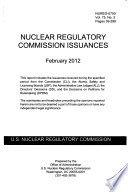Nuclear Regulatory Commission Issuances
