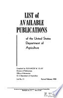 List Of Available Publications Of The United States Dept Of Agriculture