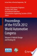 Proceedings of the FISITA 2012 World Automotive Congress Book