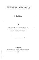 Herbert Anneslie  a reminiscence