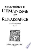 Bibliotheque d'humanisme et renaissance