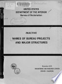 Inactive Names of Bureau Projects and Major Structures