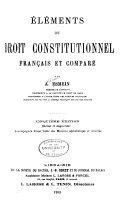 Éléments de droit constitutionnel français et comparé