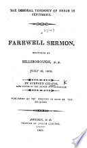 The Immoral Tendency of Error in Sentiment. A Farewell Sermon, Delivered at Hillsborough, N.H. July 30, 1809