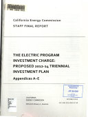 The Electric Program Investment Charge   Proposed 2012 14 Triennial Investment Plan Book