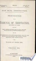 Fur Seal Arbitration  Proceedings of the Tribunal of Arbitration  Covened at Paris