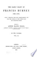 The Early Diary of Frances Burney  1768 1778