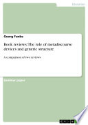 Book reviews  The role of metadiscourse devices and generic structure