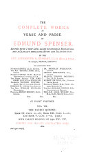 The Complete Works in Verse and Prose of Edmund Spenser: The faerie queene, Bk. III, canto 11-Bk. V, canto 7
