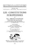 Les Constitutions Européennes: Essai synthétique. Textes des constitutions (Albanie à Finlande)