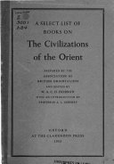 A Select List Of Books On The Civilizations Of The Orient