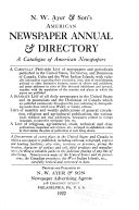 N.W. Ayer & Son's American Newspaper Annual and Directory