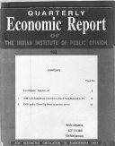 Quarterly Economic Report Of The Indian Institute Of Public Opinion