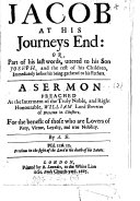 Pdf Jacob at his journey's end, or, part of his last words uttered to his son Joseph, a sermon preached at the interment of William, lord Brereton, by A.B.