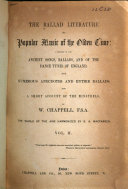 The Ballad Literature and Popular Music of the Olden Time